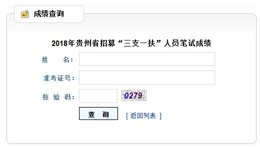 贵州三支一扶考试成绩查询入口