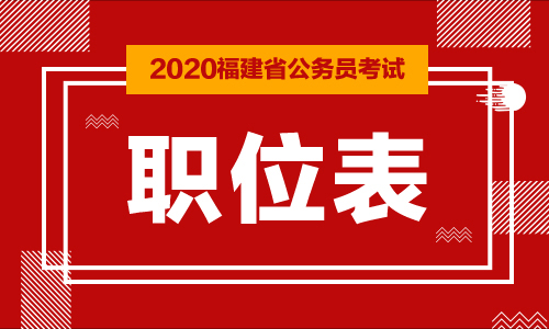 2020福建公务员考试职位表